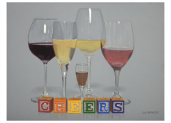 "painting of 5 wine glasses and alphabet blocks spelling the word ""cheers"", by Thomas Swearingen"