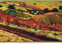 painting of Sonoma vineyard with red leaves, by Mary Linnea Vaughan