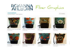 Roxanna Ahlborn fiber graphics, purses