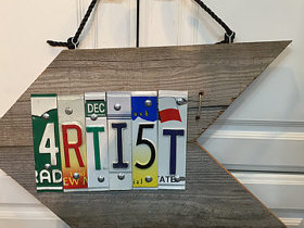 Attic 22, artist sign made of license plates